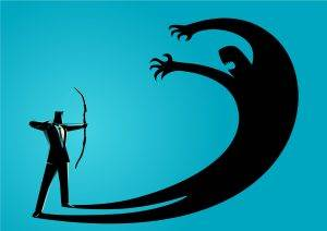 Illustration of a man aiming a bow at a monstrous-shaped shadow of himself looming over himself